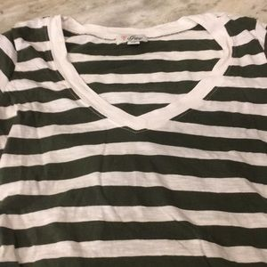 Guess Stripped v neck T with ruched sides.